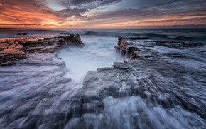 Picture beach, water, stones, rocks, shore, morning, excerpt, Australia, New South Wales, Era, The Royal national …