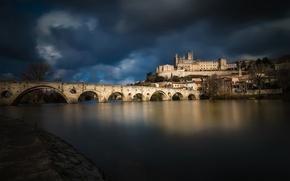 Wallpaper Languedoc-Roussillon, Orb, bridge, France, home, Beziers, river