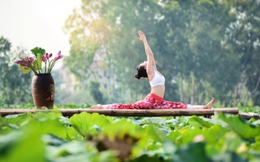 Wallpaper yoga, nature, gymnastics, girl, Asian