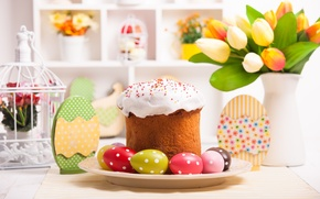 Picture cake, eggs, spring, table, holiday, cakes, cake, glaze, tulips, tulips, Easter, eggs, Easter, blessed, decoration