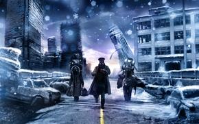 Picture road, Apocalypse, mug, gas mask, captain, three, go, romance of the Apocalypse, romantically apocalyptic