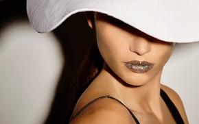 Wallpaper close-up, face, model, hat, photographer, white, journal, photoshoot, Vogue, Lily Aldridge, Lily Aldridge, Ezra Petronio