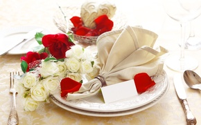 Picture flowers, napkin, restaurant, serving, glasses, plates, roses