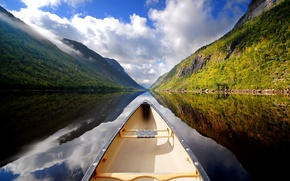 Picture mountains, lake, reflection, Boat