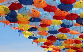 Picture the sky, bright, umbrellas, colorful
