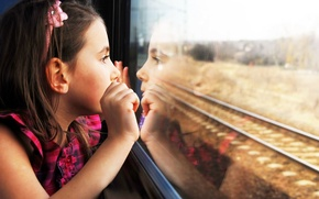 Picture girl, mood, train, baby, reflection, looking, Child, wonder, stupor, tracks