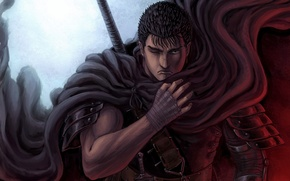Picture sword, armor, knives, cloak, scar, anime, art, berserk, GATS boy