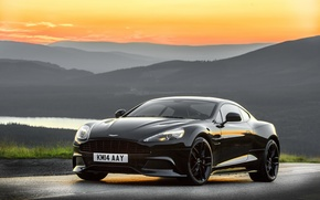 Picture sunset, Aston Martin, the evening, Aston Martin, Vanquish, vankvish, 2014, Carbon Black