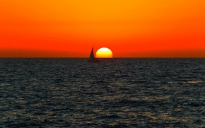 Picture sea, sunset, boat, horizon, sailing, orange sky