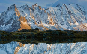Picture snow, mountains, lake, reflection, France, Alps, Chamonix