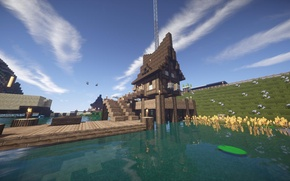 Picture the sky, grass, water, clouds, flowers, house, river, shore, the fence, pier, Lily, house, Minecraft