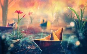 Picture flower, grass, rain, art, paper ship