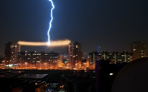 Picture the storm, night, the city, rain, the shower, Omsk
