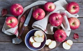 Picture apples, knife, Board, fruit, napkin