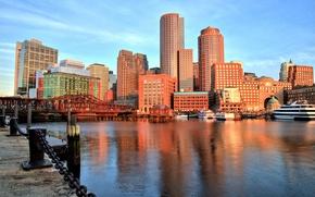 Picture bridge, building, Bay, port, promenade, Boston, Boston, Massachusetts, Massachusetts, Boston Harbor, Boston Bay