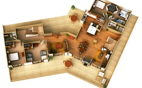 Picture house, design, interior, distribution