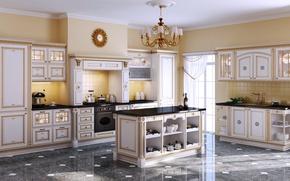 Picture furniture, watch, interior, kitchen, chandelier