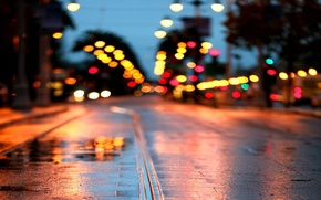 Wallpaper road, wet, macro, the city, lights, glare, rain, Wallpaper, street, puddle, lights, 1920x1080