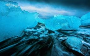 Picture sea, nature, ice, excerpt, dark water