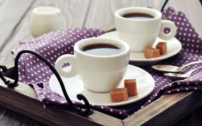 Picture napkin, milk, spoon, coffee, sugar, tray, Cup, Breakfast, cubes