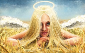 Picture look, fiction, ear, wings, art, lies, halo, green eyes, girl. angel