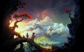 Picture landscape, mountains, castle, the moon, anime, Wanderers, journey
