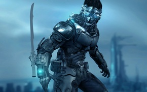 Picture weapons, fiction, mask, cyberpunk, Guesscui, chio