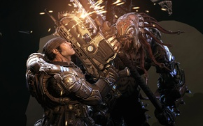 Wallpaper weapons, Marcus Fenix, locust, sparks, gears of war 2
