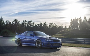 Picture Nissan, Car, Blue, Front, Sun, Day, Skyline, R34, Track