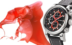 Picture metal, white, black, watch, Jack Pierre, ink red