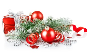 Picture frost, box, gift, branch, Christmas decorations