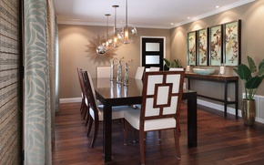 Picture flowers, design, style, furniture, pictures, chandeliers, dining room