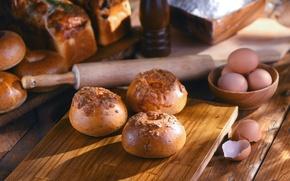 Picture eggs, bread, cakes