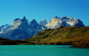 Picture mountains, lake, rocks, Chile, Torres del Paine National Park, Torres del Paine