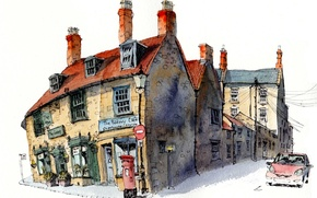 Picture the city, paint, figure, England, home, Sherborne