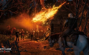Picture horse, hut, the Witcher, horse, burning, witcher, Geralt of Rivia, The Witcher 3: Wild Hunt, …