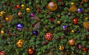 Picture balls, decoration, background, holiday, toys, new year, Christmas, spruce, treatment, tree, herringbone, needles, Christmas decorations, …
