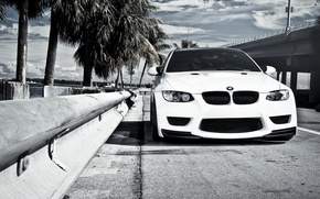 Picture white, bridge, BMW, BMW, the fence, white, E92