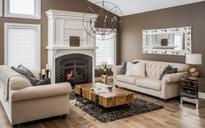 Picture design, style, sofa, mirror, fireplace, table, living room, decor