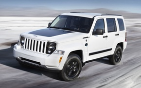 Picture Auto, White, Machine, The hood, Lights, SUV, Jeep, Arctic, In Motion, Liberty