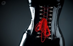 Picture latex, Corset, red, lacing