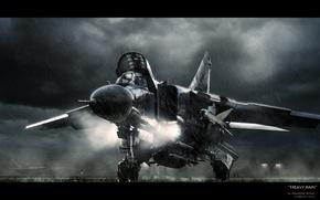 Picture aviation, rain, fighter, the plane, multipurpose, Soviet, The MiG-23