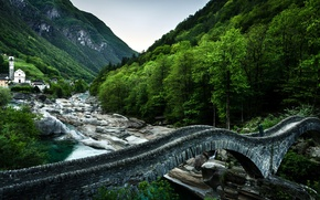 Wallpaper Switzerland, mountains, Switzerland, Ponte dei Salti, Ponte dei Salti, Verzasca River, Lavertezzo, the Verzasca river, ...