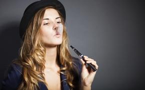 Picture girl, hand, hat, breath, cigarette, couples, beautiful, smokes, electronic, soaring, soars, vaping, starter set, vape, …