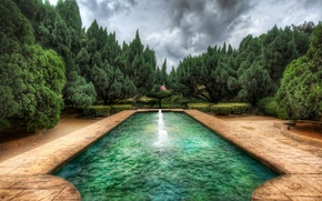Picture water, clouds, trees, style, pool