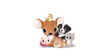 Picture animals, background, mood, art, kids, children's, syd hanson