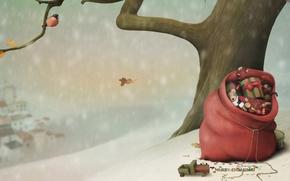 Picture snow, tree, mood, holiday, toys, vector, bird, bag, bullfinch, holidays, Christmas Wallpaper, Christmas Wallpaper, holiday …