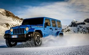 Picture machine, auto, snow, mountains, car, Jeep Wrangler Polar