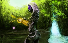 Picture waterfall, Mass Effect, the garden, Tali, drone, instrumental