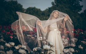 Picture flowers, mood, the bride, veil, peonies, wedding dress